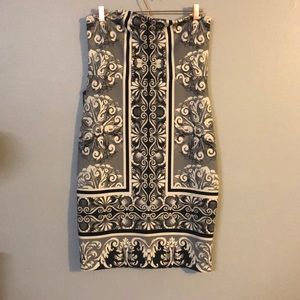NWT Express Ivory and Black Tube Top Dress